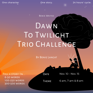 Dawn To Twilight Trio Challenge: 6 am, 7 am, 8 am.