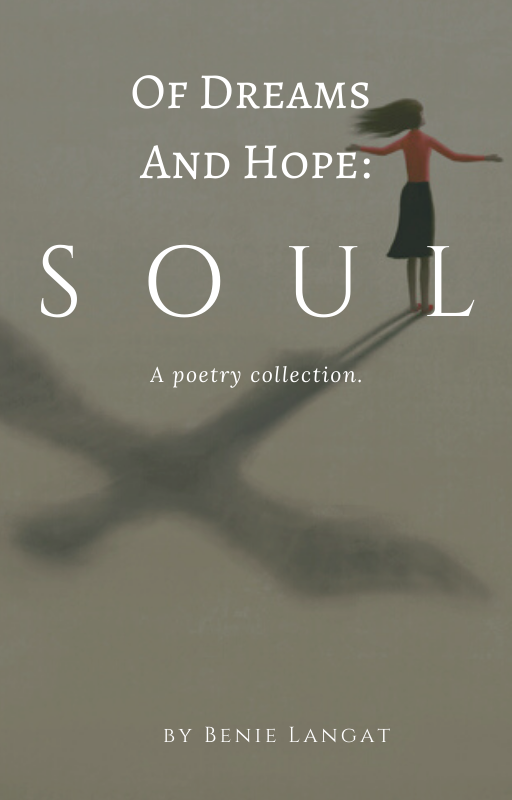 Cover photo for SOUL, a poetry collection, with woman outstretching arms and casting shadow of wings